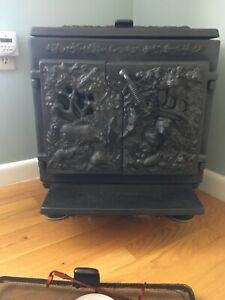 Vintage Cawley Lemay 500 Wood Stove Cast Iron Artwork By Martha Cawley Made Pa