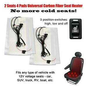 Carbon Fiber Seat Heater Warmer 4 Pads 3 level Switch 2 Seats Fits All 12v Cars