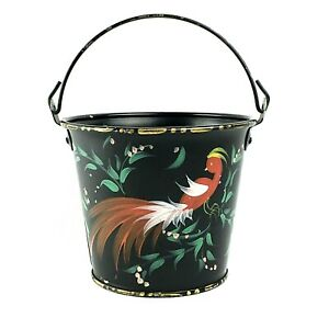 Vintage Black Tole Painted Metal Folk Art Pail Bucket Planter