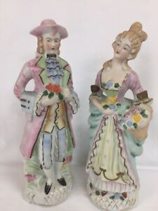Colonial Lady And Gentleman Vintage Bisque Figurine