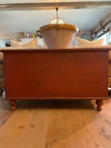 Antique Pennsylvania Red Paint Primitive Pine Dovetailed Blanket Chest Trunk