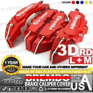 Abs 3d Red Style 4 Pcs Front Rear Universal Disc Brake Caliper Cover Cy03
