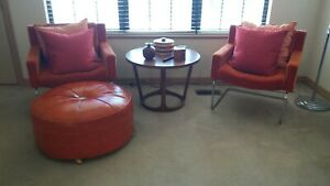 Set Of 2 Mid Century Modern Stendig Orange Arm Chairs With Chrome Base 6 Availab
