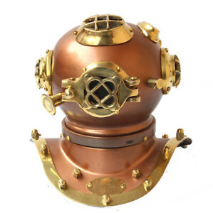 Nautical Miniature Cooper Diving Helmet Vintage Us Navy Desktop Collectible Gift