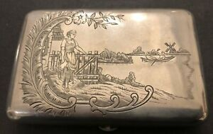 Antique Imperial Russian Engraved 84 Silver Cigarette Case