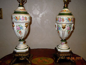 Two Vintage Hand Painted Floral Dresden Style Porcelain Lamps