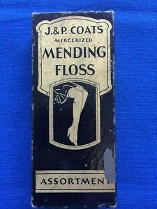 Vintage Original Box J P Coats Mending Floss W 10 Wooden Spools Thread