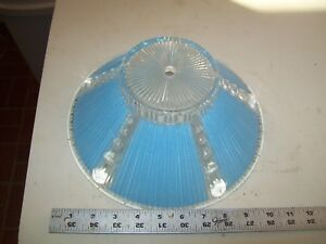 Antique Art Deco Glass Ceiling Light Fixture Shade Blue 4 1 2 X 10 1 2 X 4