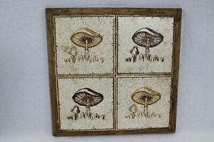 Vintage Mushroom Tile Art Wood Frame Ceramic Pot Trivet Art Deco Antique Decor