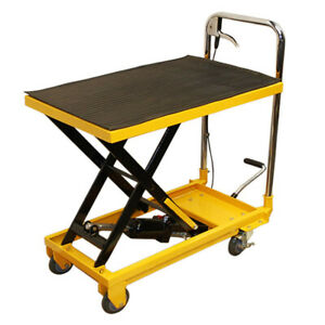 Heavy Duty Mobile 330lb Hydraulic Table Lift 9 To 28 Jack Cart