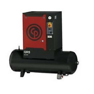New Chicago Pneumatic 10 Hp Tank Mounted Rotary Compressor Qrs 10d 150 Tm