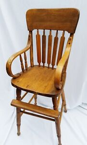 Antique Hand Made Oak Bentwood Wood High Chair 38 In Back You Pick Up Or Uship