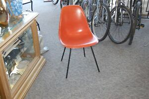 Vintage Herman Miller Shell Chair Orange With Black H Base