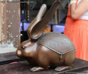 Chinese Copper Bronze Fengshui Money Wealth Blessing Lovely Hare Rabbit Statue