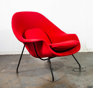 Mid Century Modern Lounge Womb Chair Eero Saarinen Knoll Authentic 1950s Red Mcm