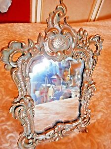 Table Mirror Vintage Metal Art Decor For Dressing Table Bronse