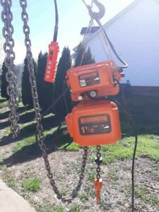Harrington 1 1 2 Ton Electric Chain Hoist With Motorized Trolley 230 460 Volts