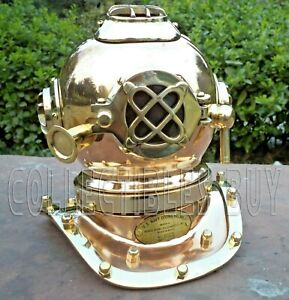 Vintage Deep Diving Miniature Helmet Us Navy Mark V Copper Finish Collectible