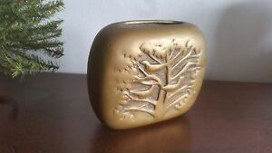 Vintage Arts Crafts Movement Solid Brass Repousse Tree With Birds Motif Vase
