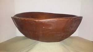 Antique Early Free Form Hand Made Carved Rough Wooden Dough Bowl Large Patina