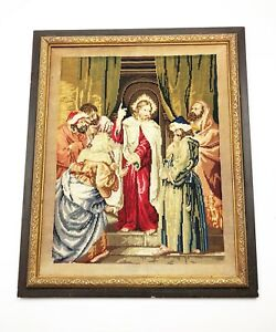 Antique English 19th Century Needlepoint Embroidery Jesus Christ Religious Scene