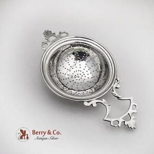 Vintage Tea Strainer Openwork Handle Currier And Roby Sterling Silver 1910