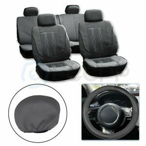 For Hyundai Mustang Gray Polyester Mesh Auto Seat Cover W Steering Wheel Cover
