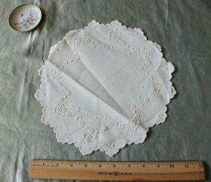 Antique Swiss Appenzell Hand Embroidered White Work Florals On Linen 10 Round