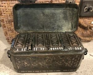 Antique Islamic Philippines Bronze Betel Nut Box With Silver Inlay 1800s 5 5