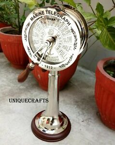 Nautical Vintage Chrome Ship Telegraph Engine Room With Wooden Base