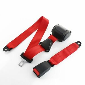 1pc Universal 3 Point Fixed 3 Point Harness Safety Belt Lap Strap Seatbelt Red