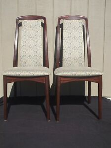 Pr Danish Mcm Rosewood Svegards Markaryd Tall Back Upholstered Dining Chairs