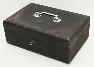 Vintage Black And Red Metal Heavy Weight Cash Box Safe Tin With Key Tray Insert
