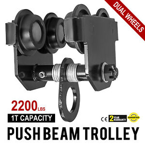 1 Ton Push Beam Track Roller Trolley Winch Crane Lift Capacity 2200lbs Pro