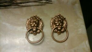2 Vintage Lion Head Brass Like Drawer Dresser Pulls W Drop Ring Handles