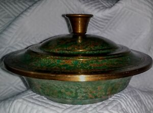 Carl Sorensen Signed Patinated Bronze Covered Bowl Dish Lid Number 9 2330