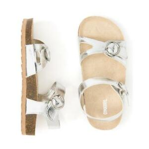 NWT Gymboree Jump Into Summers Girls Sandals Metallic Silver Baby and Kids sizes $12.99