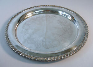 Antique Serving Tray 1883 F B Rogers Silver Co 10 1 2 Round Gracefully Etched