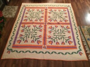 Show Stopper 30 S Unusual Vintage Antique Tulips Appliqu Quilt 70x83 Handmade