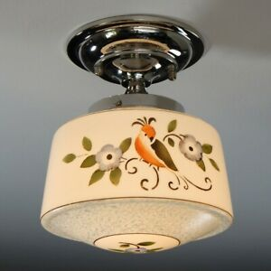 Semi Flush Ceiling Light Fixture Vintage Hand Painted Glass Shade New Nickel Fi
