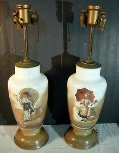 Pair Of 1880 S Antique Opaline Vases Baccarat Style Converted To Lamps