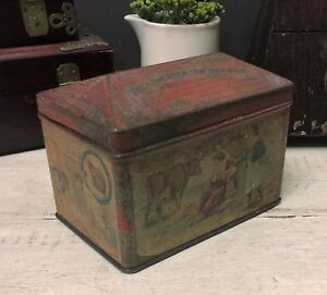 Rare Mccall Stephen Antique Biscuit Tin Box House Jack Built Nursery Rhyme