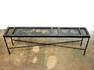 Decorator Cocktail Table Asian Lacquered Gilt Decorated Custom Iron Bamboo Base