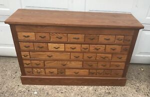 Multi Drawer Antique Oak Store Parts Cabinet 45 In Wide