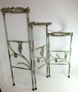 Antique Rustic Art Deco Metal Folding Plant Stand 3 Tier Monkey Horse Rope