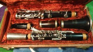 F Barbier Wood Clarinet Vintage Made By Selmer Elkhart Indiana