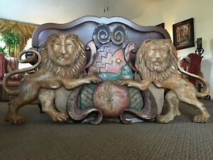 Magnificent Huge 67 Carved Painted Wood Lions Carnival Pediment Family Crest