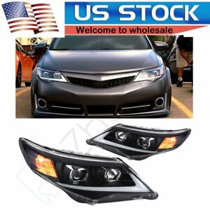Led Headlights Drl Halo Projector Front Lamp Assembly For 2012 2014 Toyota Camry