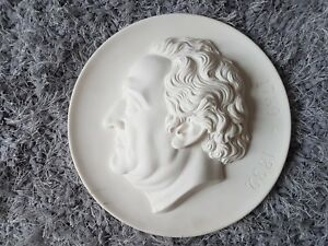 Large Plaster Intaglio Cameo Tassie Portrait Man Wall Decor Plaque New Meddalion