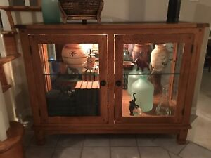 Vintage Beveled Glass Mirror Back Mission Arts Craft Wood Display Cabinet Case